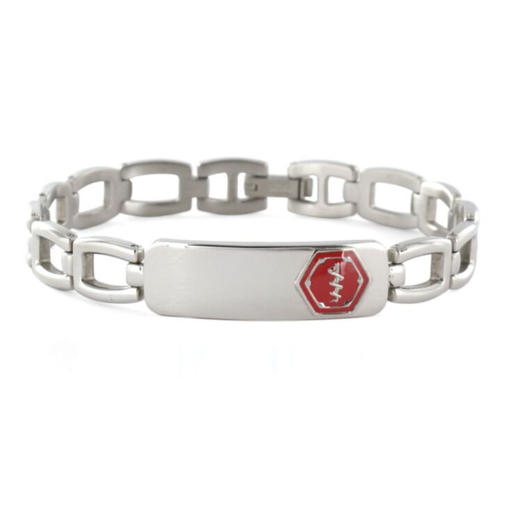 lynx style stainless steel, unisex medical id bracelet with foldover clasp