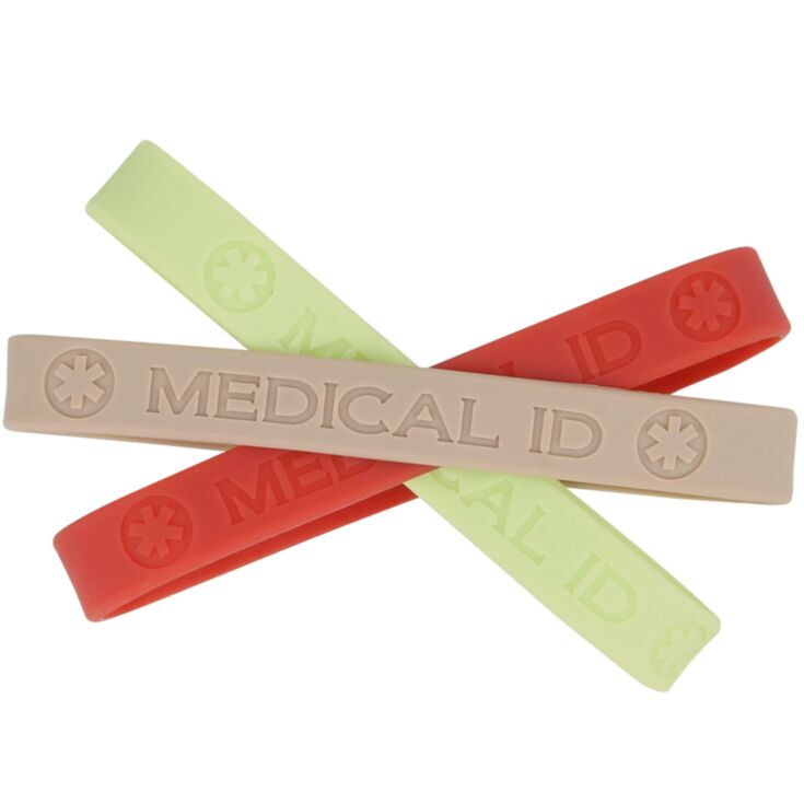 earth tone silicone medical id band, bundle pack in three neutral colors, brick, sage, and sand, sleek for use with stainless steel or titanium id plate