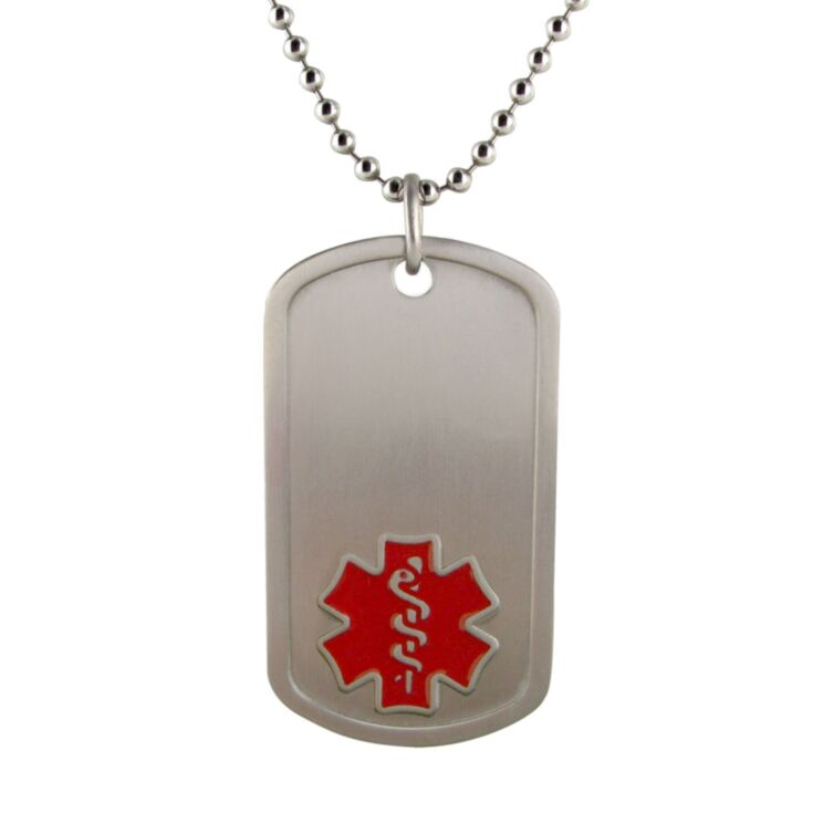 dog tag medical id with red medical symbol on titanium bead chain, hypoallergenic medical id jewelry, lightweight and durable