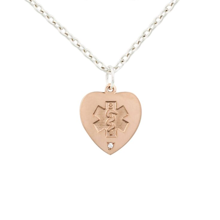 14kt rose gold medical id necklace for women, heart-shaped pendant with diamond accent, sterling silver cable chain