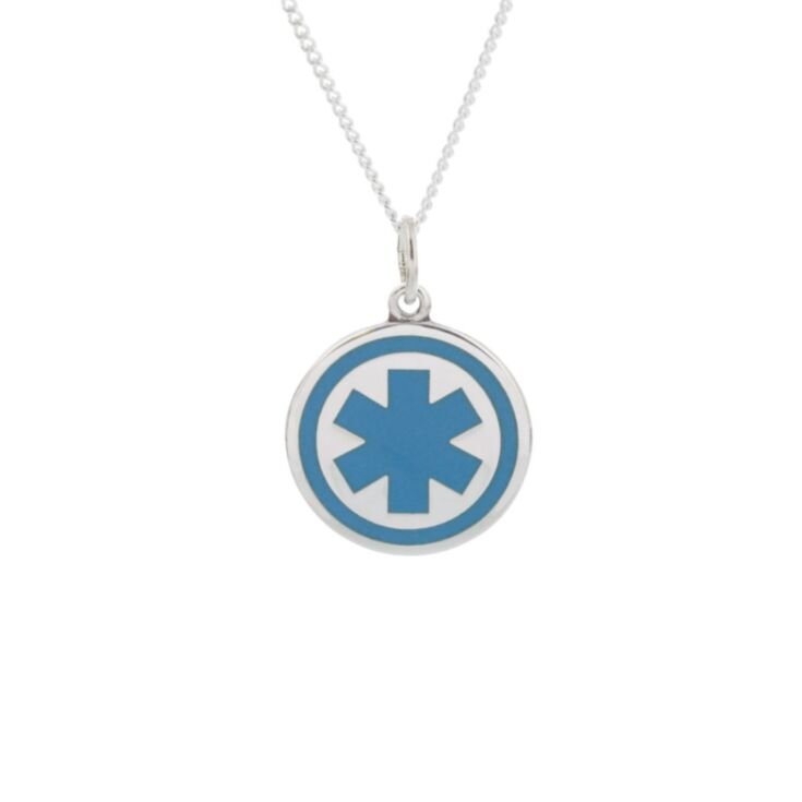 round sterling silver medallion necklace, classic and traditional style, embossed medical emblem on round id tag, curb style neck chain