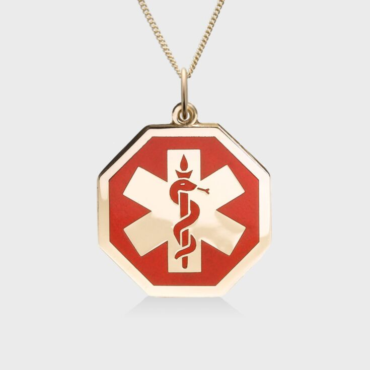 unisex gold rope chain medical id necklace, gold octagon pendant with red medical emblem design