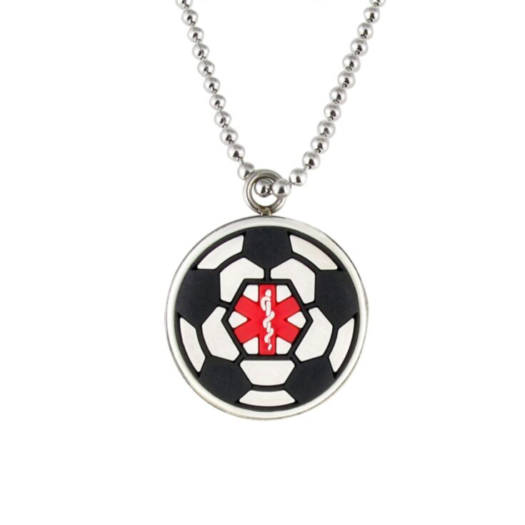kids soccer ball medical id necklace, black and white pendant with soccer ball design and red medical emblem