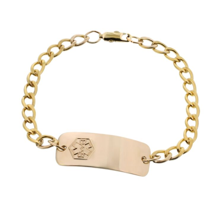 medical id bracelet for toddlers, children, gold curb chain with engraveable plate