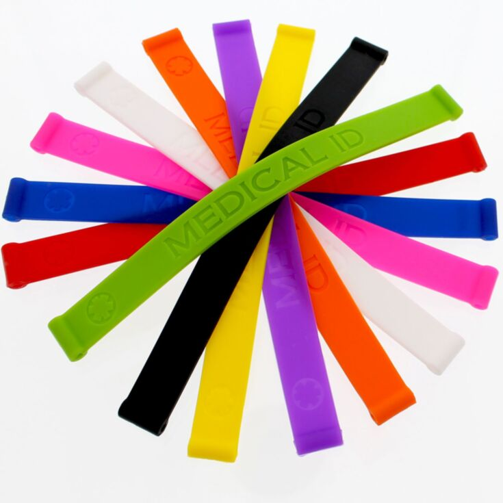 """silicone medical id bands in different colors, bundle pack, medical emblem embossed, 1/2"""" width, unisex"""