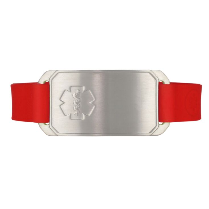 stretch silicone band medical id bracelet in red with stainless id tag, fits teens, adults, red outline medical emblem or embossed design