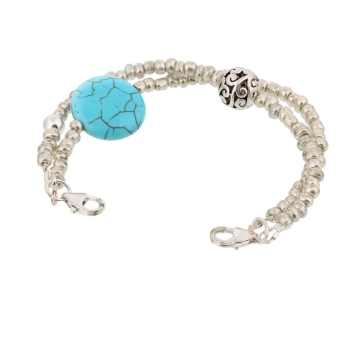 vintage style bracelet for medical ids, two strand bracelet with antique turquoise stone and antique style silver beads