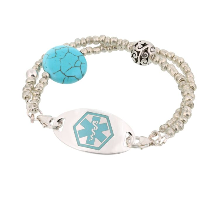 two strand, turquoise stone, antiqued silver beads medical id bracelet, handmade, with sterling silver or stainless steel id plate