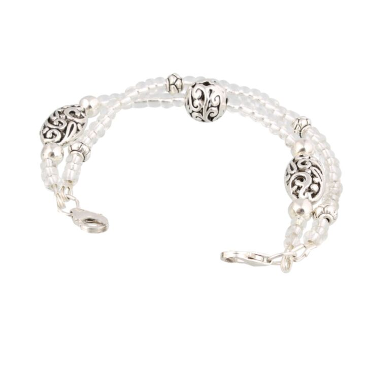 interchangeable womens medical id bracelet, classic, vintage style, white medical jewelry with scalloped beading