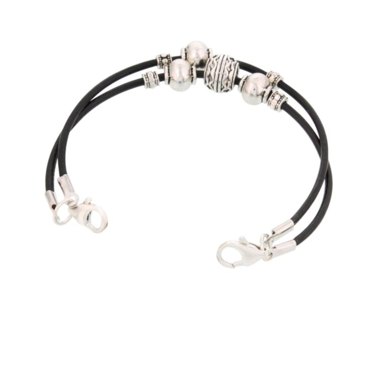 southwest style medical alert bracelet, black leather cord band with silver plated beading