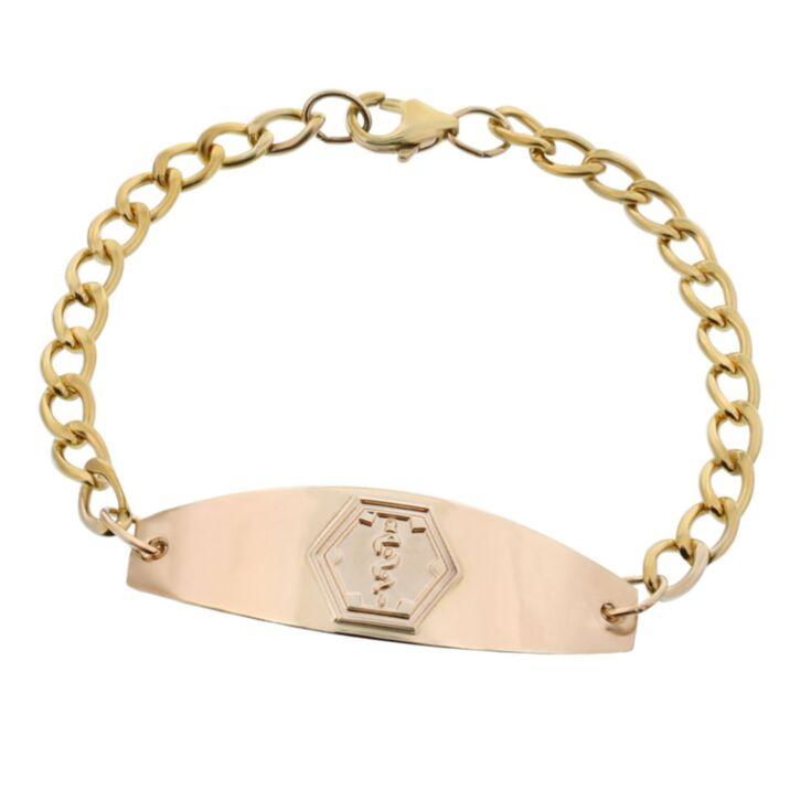 premier gold medical id bracelet for men and women, medical id plate, medical emblem