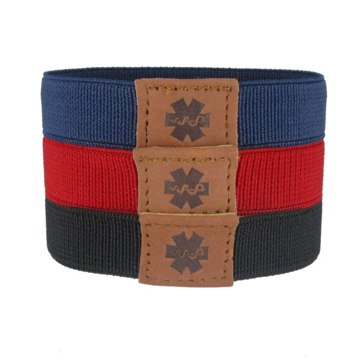 navy blue, red, and black, elastic nylon sportband medical id bracelet, 3 band pack, for teens, adults, fits all gender