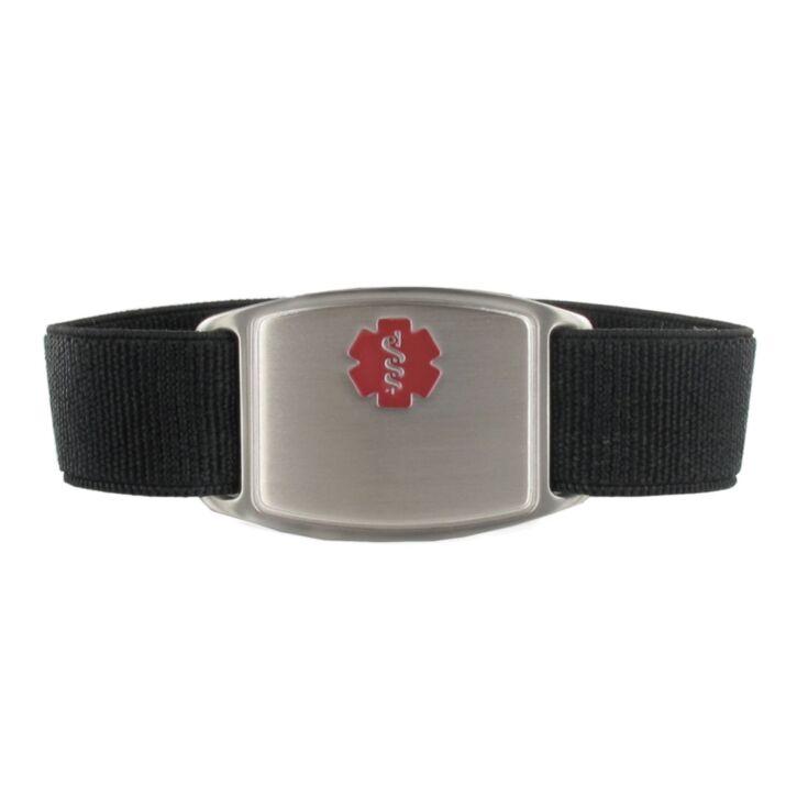 black sportband flex medical id bracelet, stainless medical id tag with red medical emblem design, elastic nylon band for comfort & durability