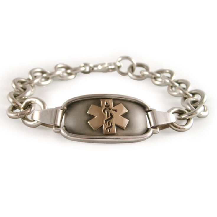simple cable chain medical id bracelet for women in gold or silver with oxidation effect