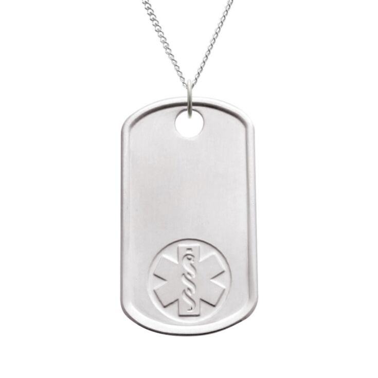 sterling silver dog tag medical id necklace with military styling, id tag embossed with medical emblem, subtle brushed metal finish, unisex design