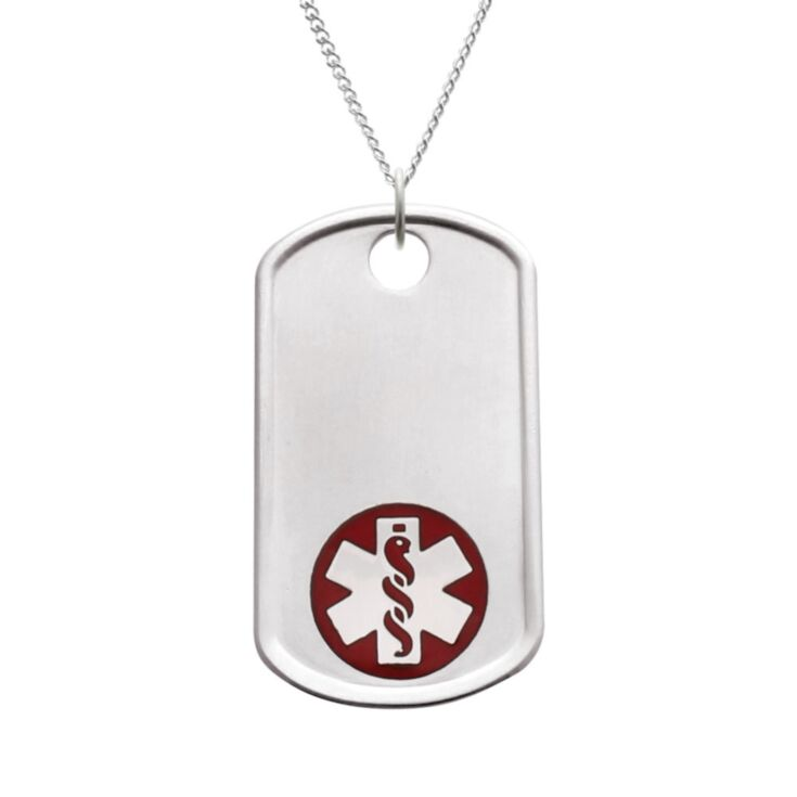 comfortable dog tag medical ID necklace, military-inspired pendant with red medical emblem, brushed metal finish