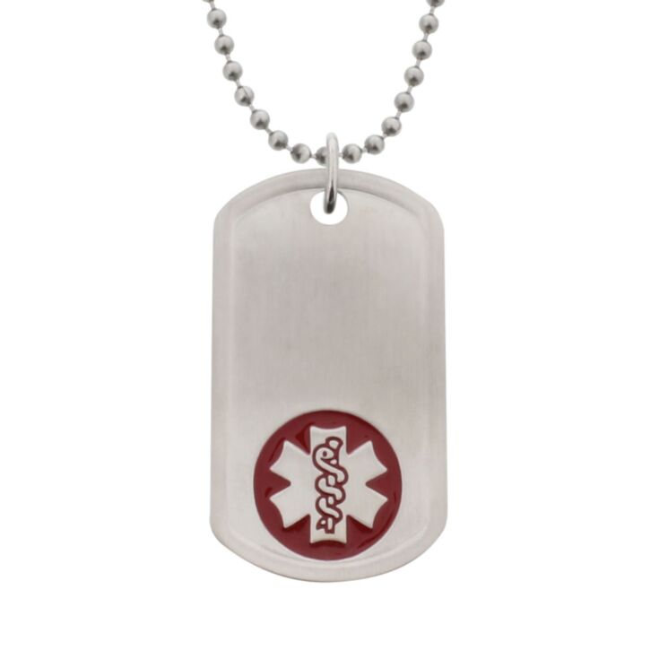 Unisex stainless steel dog tag medical ID necklace with bead style chain, brushed metal finish, id tag and red medical emblem design