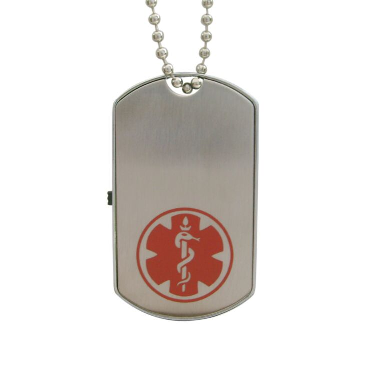 Stainless steel usb dog tag medical id necklace with bead chain and red medical emblem