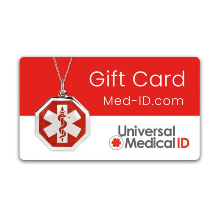 american medical id gift card, electronic gift card for medical id jewelry and medical id tag accessories