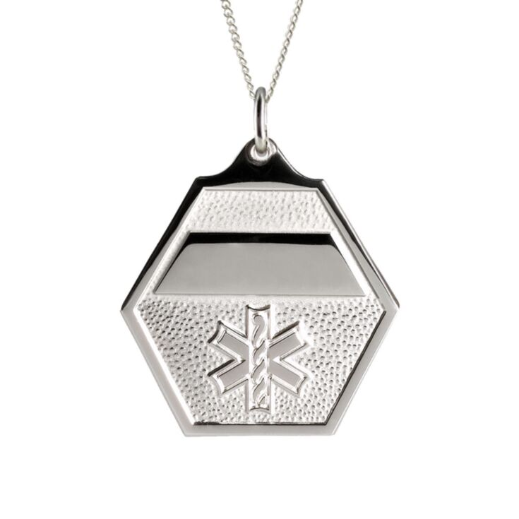 sterling silver, box chain, medical id necklace for men, women, classic design, hexagon pendant with embossed medical emblem