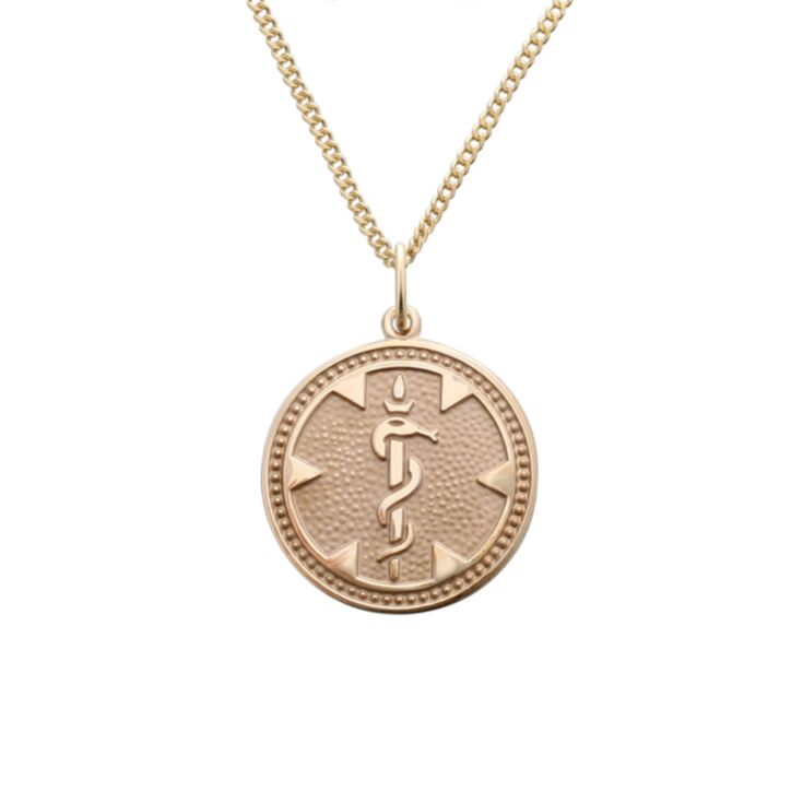 round medallion medical id gold pendant with embossed detail of medical emblem