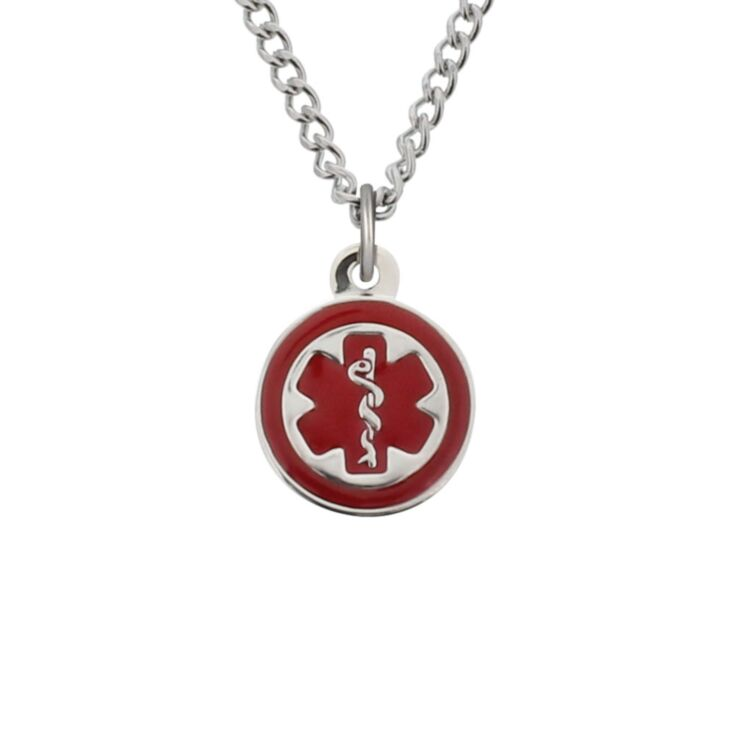 Mini pendant charm necklace with stainless steel standard curb chain and claw clasp, round medical emblem charm in highly visible red color