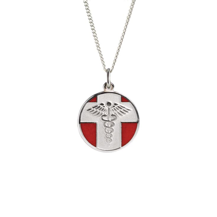 vintage medical id necklace with round pendant on sterling silver rope chain, embossed medical emblem design with red enamel backdrop on pendant, highly visible & recognizable
