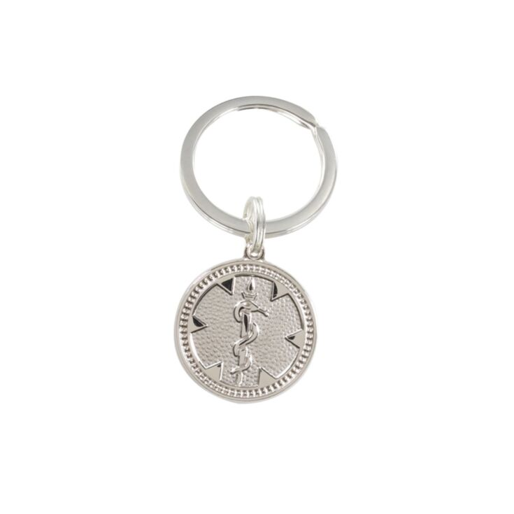 """silver medallion medical id keychain, 3/4"""" diameter sterling silver round medallion with split key ring, unisex design with embossed medical emblem"""