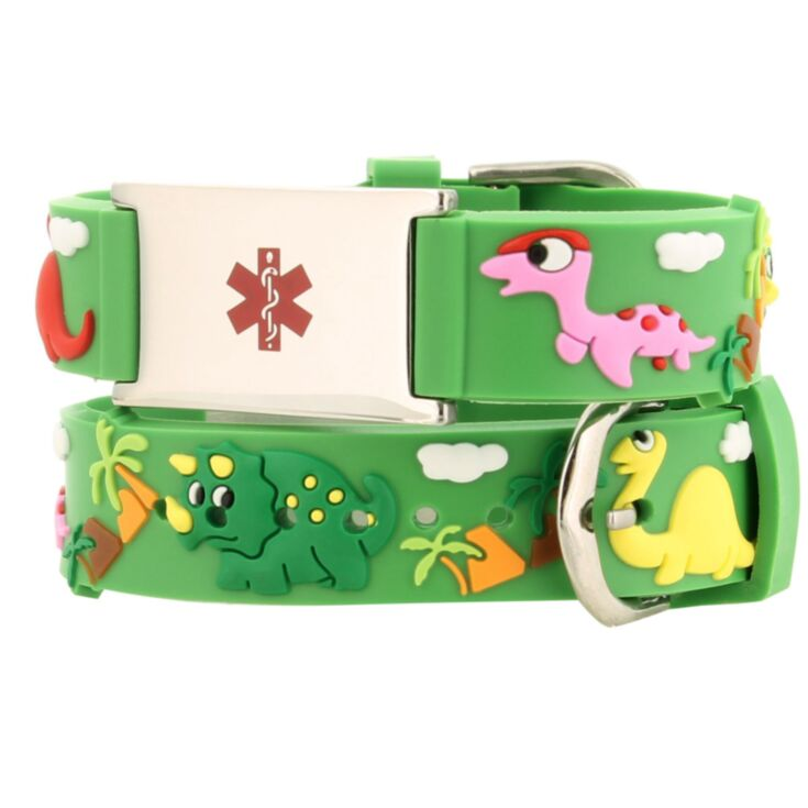 kids dinosaur silicone medical id band, green color with cute dinosaur characters and stainless steel plate