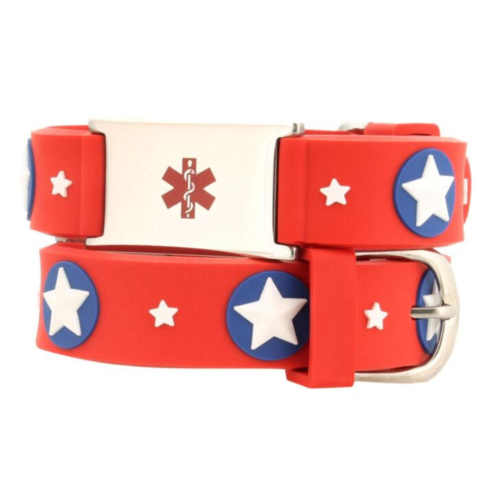 kids red medical id bracelet with super hero star design, silicone band with stainless steel plate