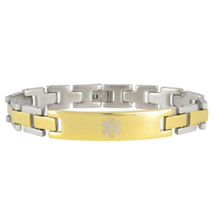 two-tone medical id bracelet in gold and silver stainless steel for men